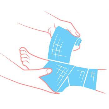flat hand that bandaging the foot