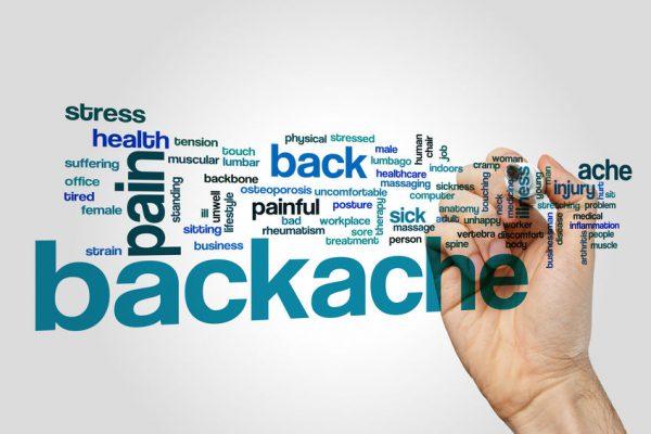 Backache word cloud on grey background