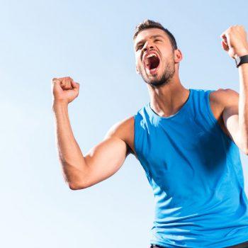 sportsman celebrating triumph